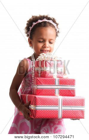 Give Presents! Curly Mulatto Girl With Gift Boxes In Hands On A White Background