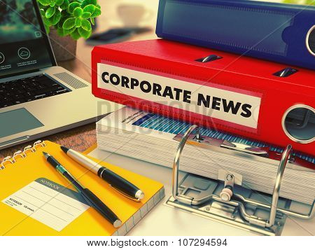 Red Office Folder with Inscription Corporate News.