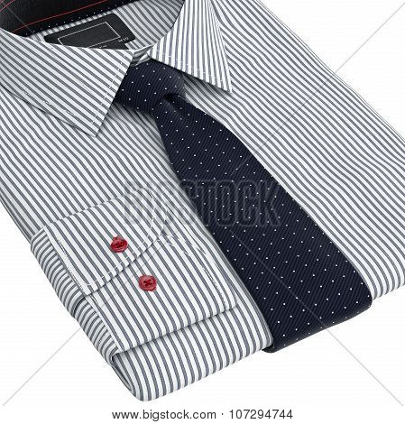 Classic men's shirts and ties folded, zoomed view