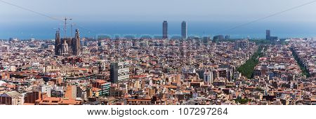 Barcelona, Spain June 30, 2015: Panorama With View From Park Güell