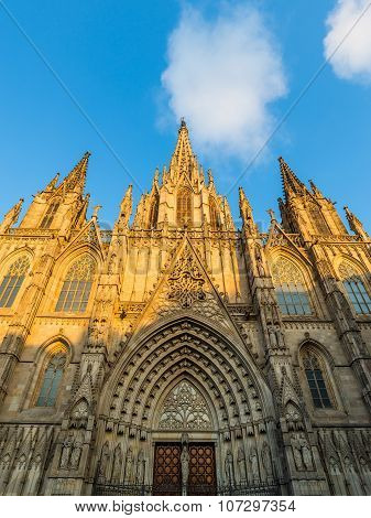 Barcelona, Spain June 30, 2015: The Cathedral Of Barcelona In Sunset....