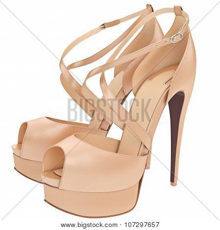 Beige sandals with heels