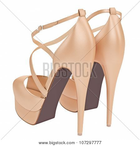 Beige leather sandals with heels
