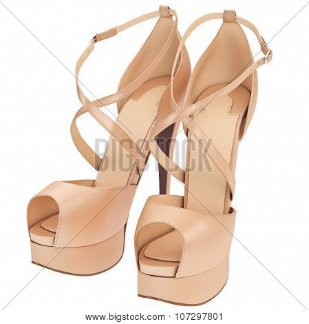 Women's beige leather sandals with heels