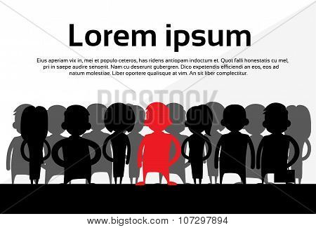 Red Businesswoman Silhouette, Black Business People Cartoon Group Team Concept