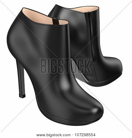 Leather retro boots with zipper