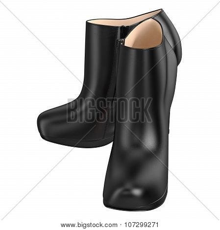Leather black boots with metal zipper