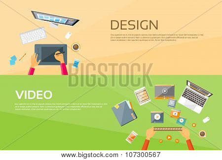 Video Editor Workplace Hands Laptop Player Web Banner