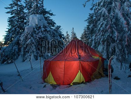 Winter Forest And Illuminated Tent