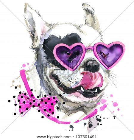 Cute sweet dog T-shirt graphics. Funny dog illustration with splash watercolor textured  background.