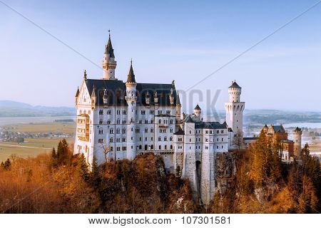 Autumn  view of famous Neuschwanstein Castle, Fussen, Bavaria, Germany