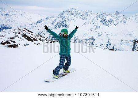 snowboarder at snow hill in Solden Austria extreme winter sport