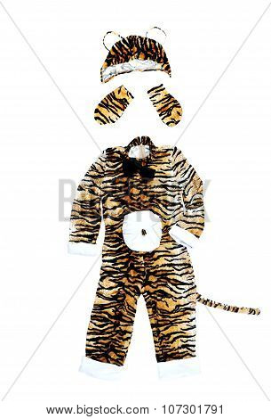 Tiger Costume On White Background. Tiger Carnival Suit.