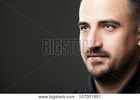 Headshot Of Handsome Men On Greu Background