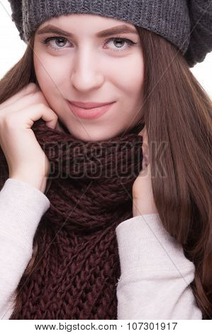 Girl Smiling At Camera In Winter Clothes