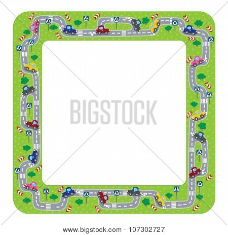 Funny frame or border with roads and cars.