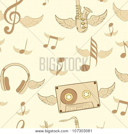 Brown winged musical subjects