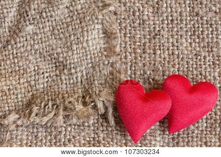 Decorative Hearts On Canvas Background