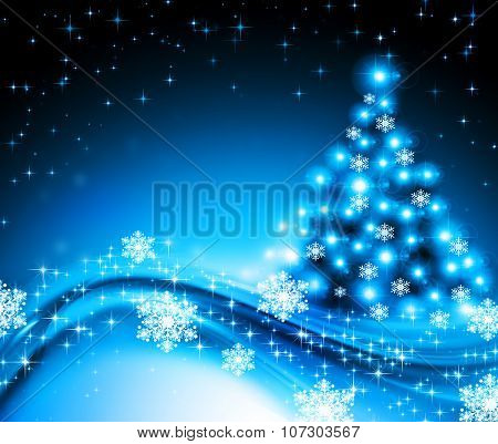 Christmas blue tree background