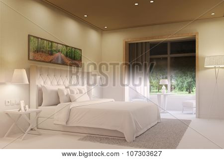 Change from day to night in living room with double bed (3D Rendering)