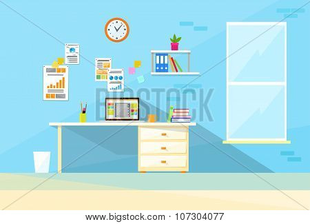 Desk Laptop Working Place Home Room Interior Flat