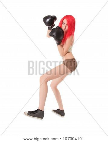 Red hair woman is boxing