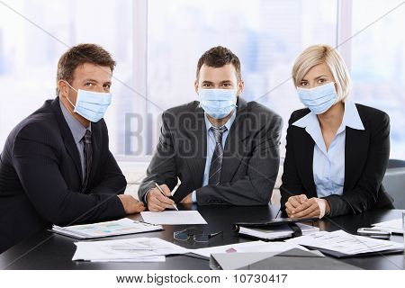 Business People Fearing Swineflu Virus