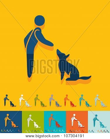 Flat design. training dogs