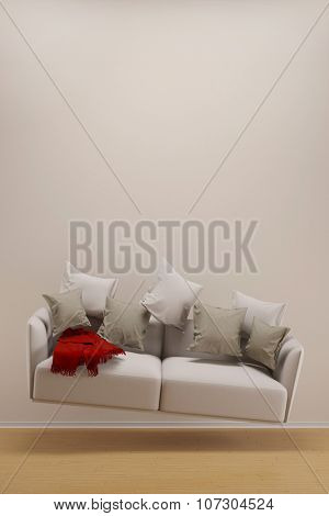Weightless sofa hoovering in living room in front of a wall (3D Rendering)