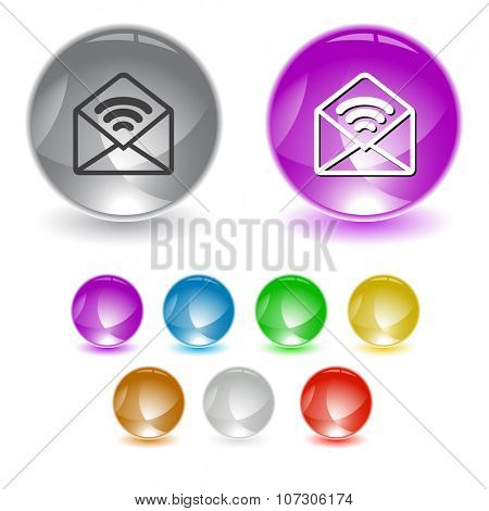 open mail with sound. Raster interface element.