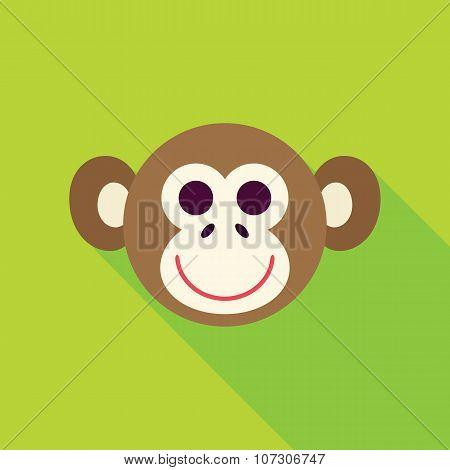 Vector Flat Design Monkey Face Icon