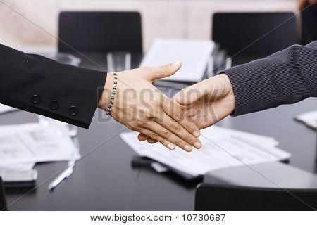 Businesswomen Handshake Over Table