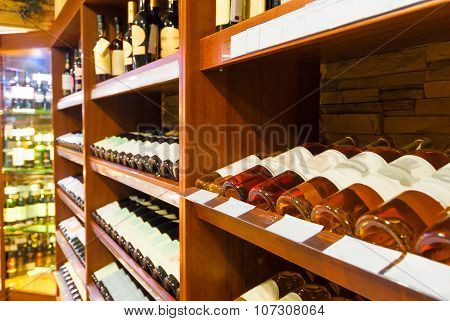 The Counter At The Supermarket With Alcoholic Beverages