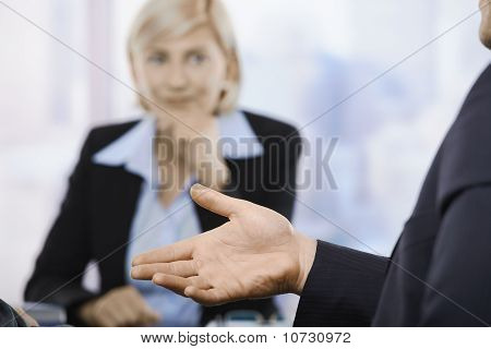 Business Meeting, Hand In Closeup