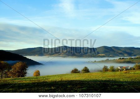 Autumn  misty landscape