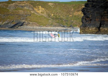 Sunshine Winter View Of Kayaker At Ballybunion