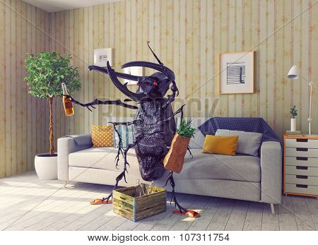 the beetle in the living room. 3d concept