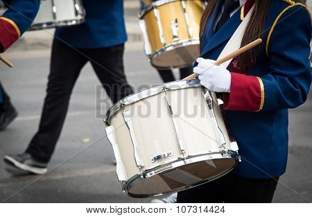 Students Playing Drums During A Parade In Nicosia Cyprus