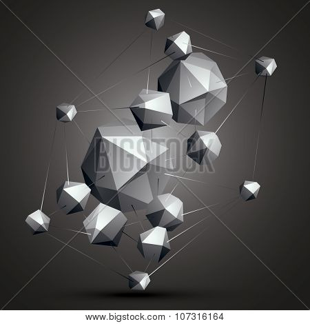Geometric Abstract 3D Complicated Object, Monochrome Asymmetric Three-dimensional Construction Isola