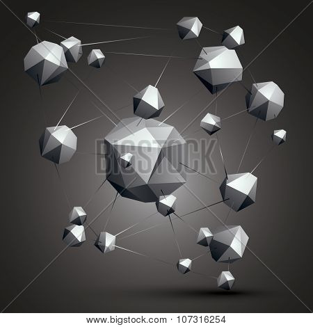 Complicated Abstract Grayscale 3D Shapes, Vector Digital Object. Technology Theme.