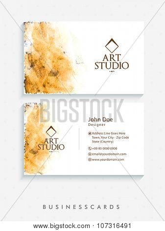 Horizontal Business Card, Name Card or Visiting Card set with front and back presentation.