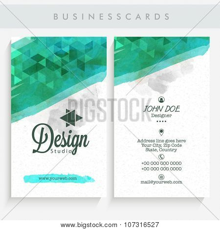 Professional Vertical Business Card, Name Card or Visiting Card set with front and back presentation.