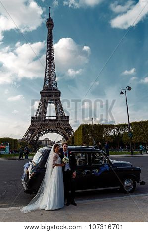Couple Of Newlyweds In Paris