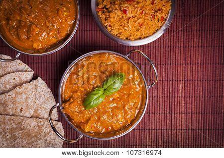 Chicken Tikka Masala Curry On Rattan Background