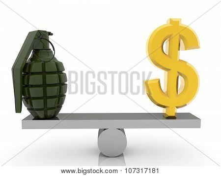 USA Dollar sign and grenade on seesaw