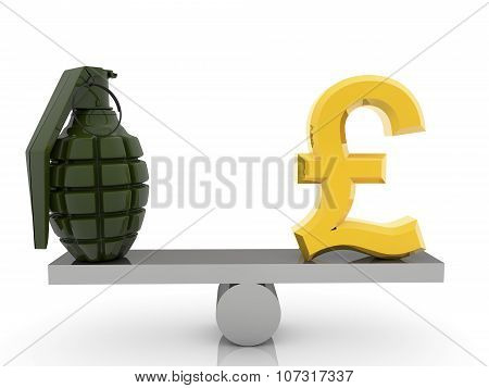 British Pound sign and grenade on seesaw