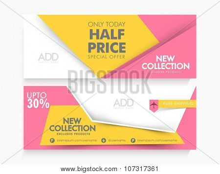 Stylish Sale website header or banner set with 30% discount offer for limited time only.