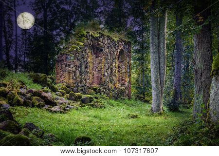 Old Church Ruins in night