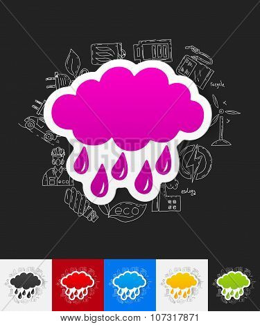 cloud paper sticker with hand drawn elements