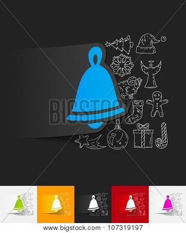 christmas bell paper sticker with hand drawn elements